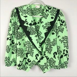 HERMANN LANGE | Vintage Green Black Pattern Blazer